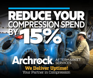 Ad - Reduce your copression spend by 15%. Archrock Aftermarket Services. We Deliver Uptime!
