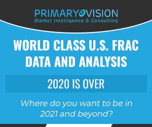 Ad - World Class U.S. Frac Data and Analysis from Primary Vision. Where do you want to be in 2020 and beyond?
