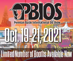 Ad - Permian Basin International Oil Show: Oct. 19-21, 2021. Limited number of booths available now.