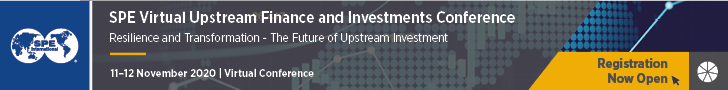 Ad - Registration Now Open for SPE International Virtual Upstream Finance and Investments Conference. 11-12 November 2020